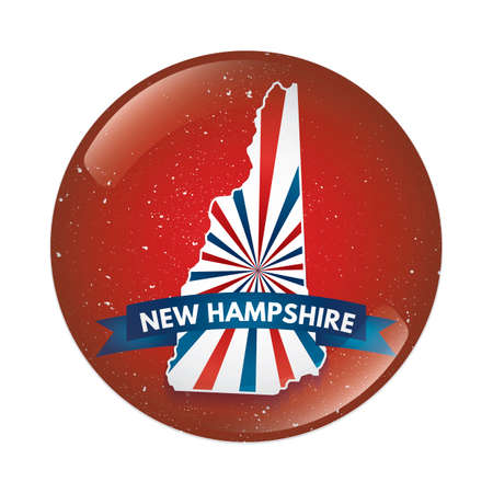 New Hampshire map button Illustration