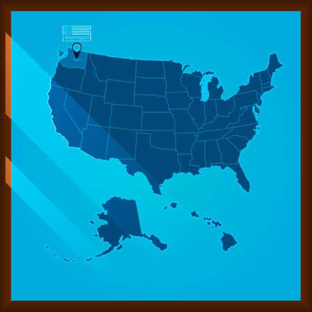 bordered: Navigation pointer indicating washington state on US map