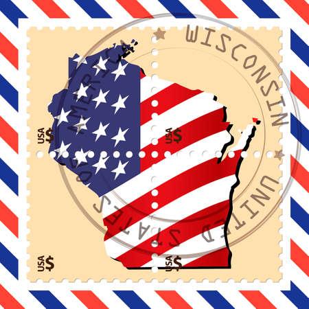 wisconsin: Wisconsin stamp Illustration