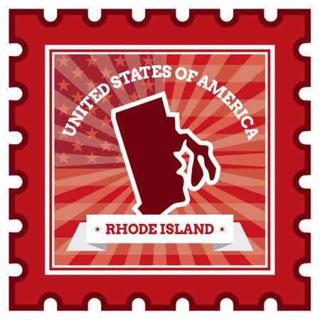 postage stamp: Rhode sello isla