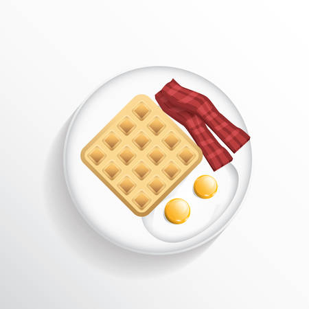 directly above: Waffle with fried eggs and bacon Illustration
