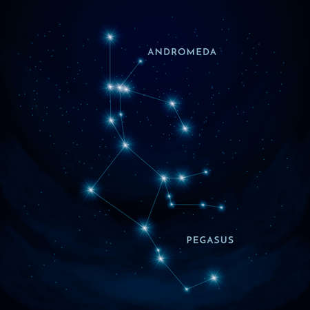 andromeda: Andromeda and pegasus constellation Illustration