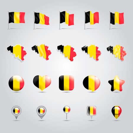 belgium flag: Collection of belgium flag Illustration