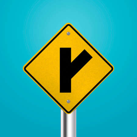 signboard: Right Y intersection signboard Illustration