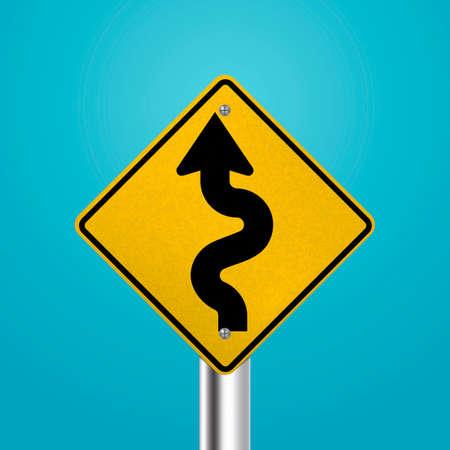 winding: Winding road signboard