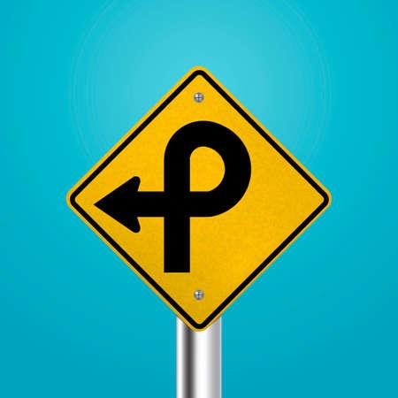 pretzel: Pretzel loop road signboard Illustration