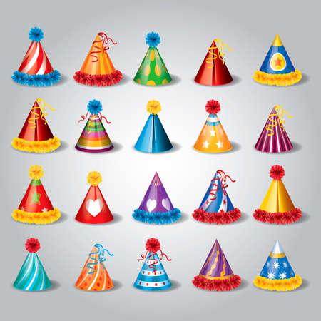 gorros de fiesta: Conjunto de sombreros de fiesta Vectores