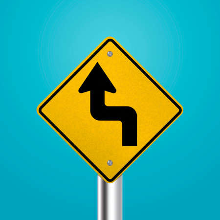 reverse: Sharp reverse left turns ahead signboard Illustration