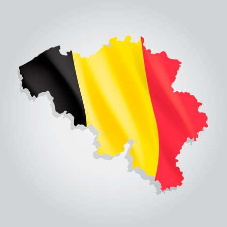 flag: Belgium map with flag Illustration