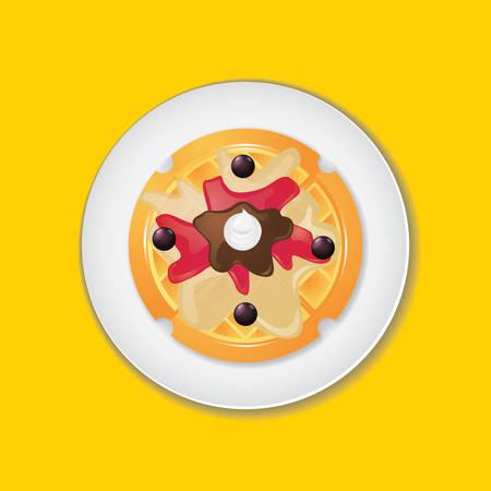 waffle: Belgian waffle Illustration