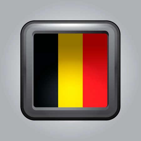 belgium flag: Button with belgium flag Illustration