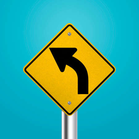 traffic pole: Left curve signboard Illustration