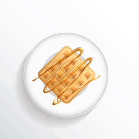 directly above: Belgian waffle with caramel syrup Illustration
