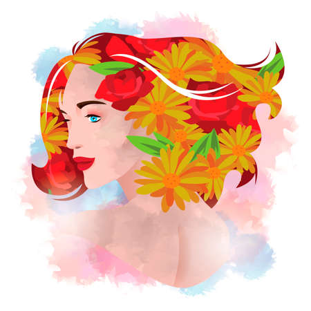 double exposure: Double exposure of woman and flower Illustration