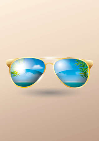 eyewear fashion: Double exposure of sunglasses and beach background