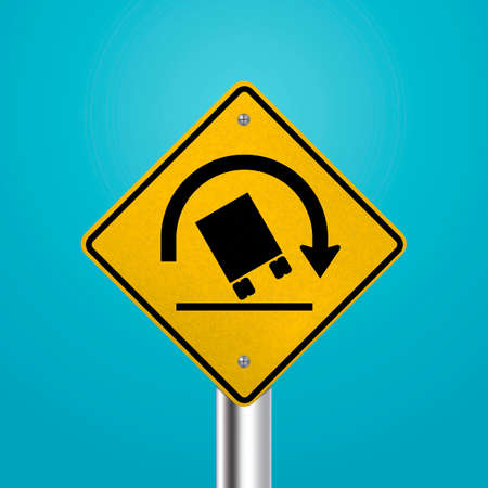 éles: Truck rollover warning for sharp curves signboard