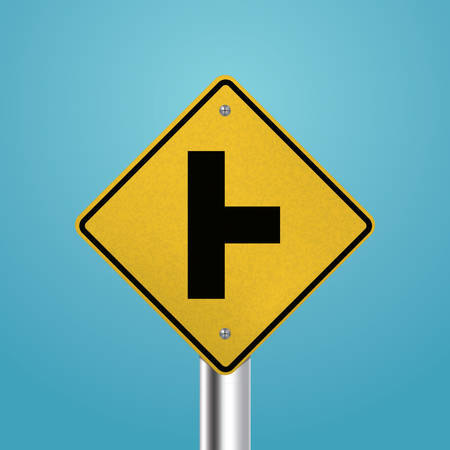 intersection: T intersection right signboard Illustration