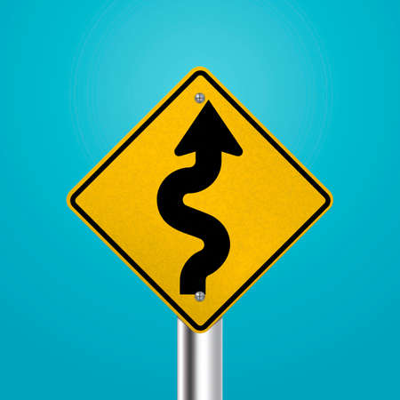 highway signs: Winding road signboard