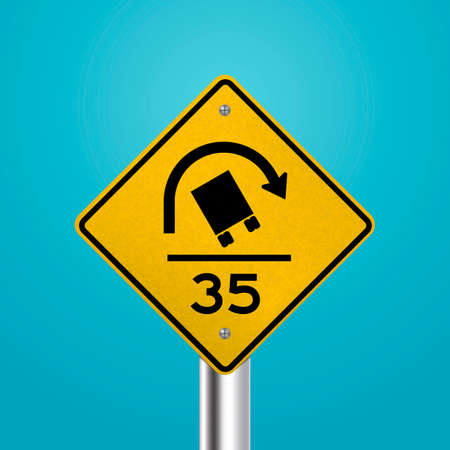 rollover: Truck rollover warning for sharp curves signboard