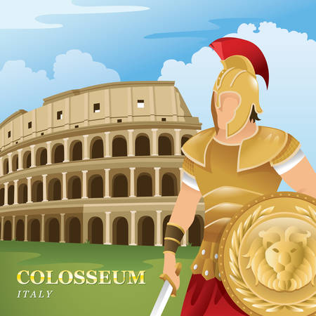 Colosseum and gladiator Illustration