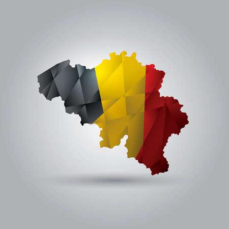 Belgium map with flag Illustration