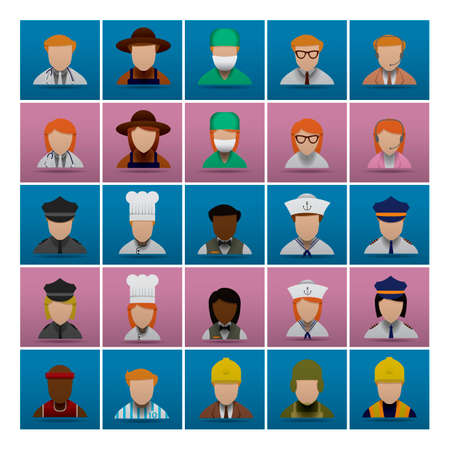 occupations: Collection of people and occupations Illustration