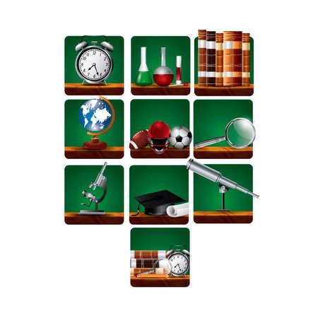 american football helmet set: Education set Illustration