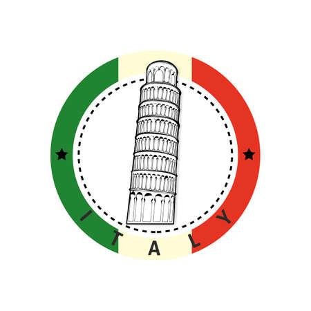 Leaning tower of pisa label Illustration