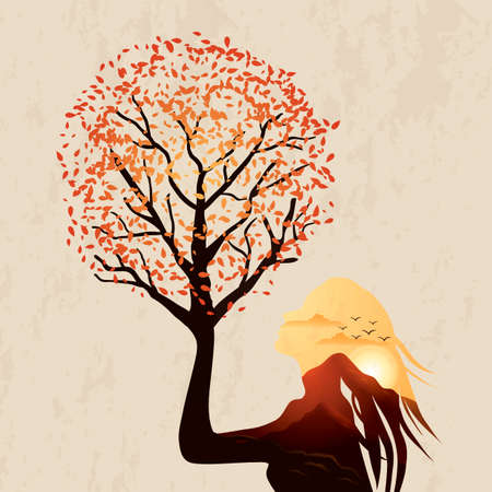 Double exposure woman and sunset Illustration