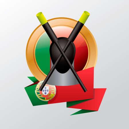 esgrima: etiqueta de Portugal con el equipo de esgrima