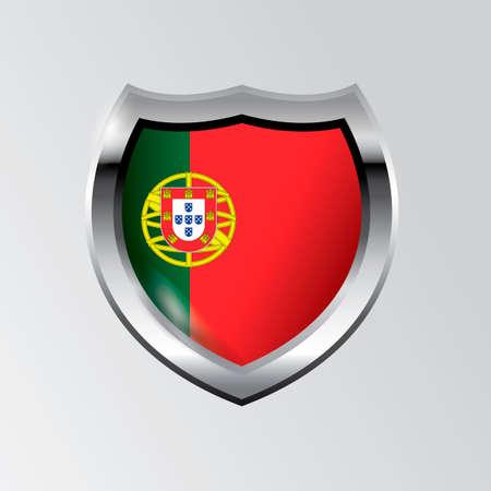 portugal flag: Shield with portugal flag Illustration