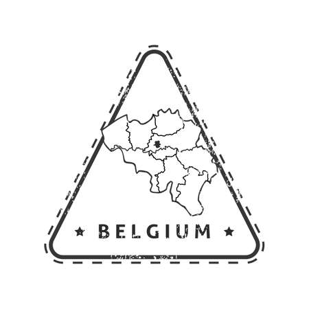 belgium: Belgium map stamp