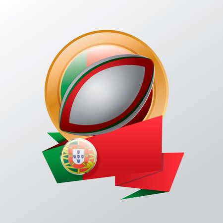 rugby ball: etiqueta de Portugal con el balón de rugby