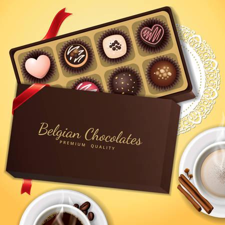 상자에 벨기에 초콜릿