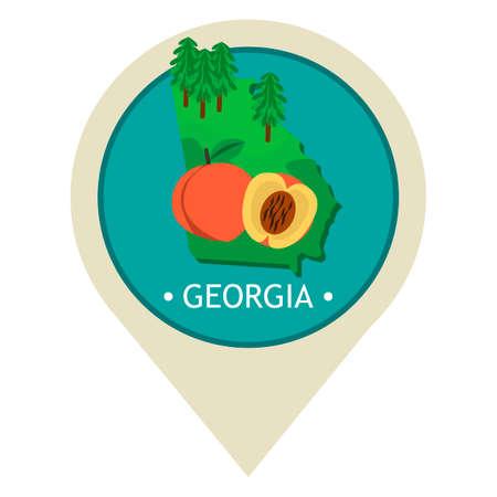 georgia: Map pointer with georgia state
