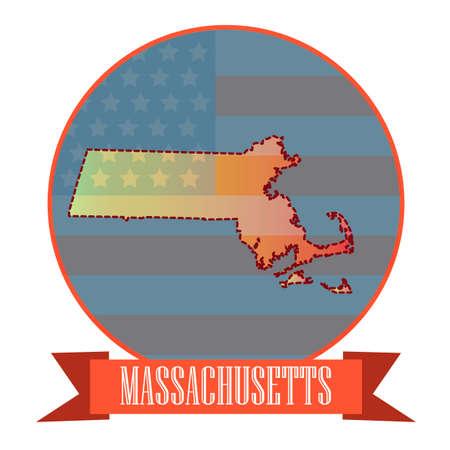 double exposure: Map of massachusetts state