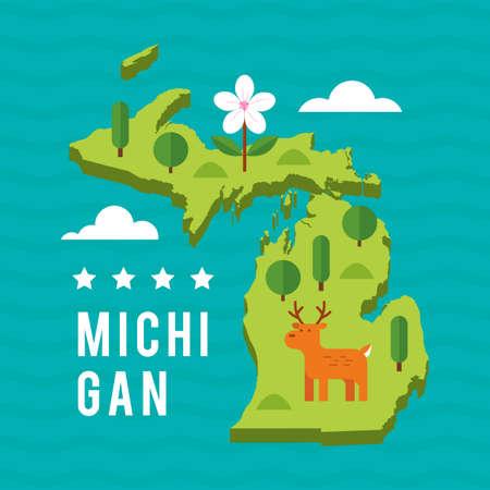 michigan: Map of michigan state Illustration