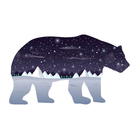 double exposure: Double exposure polar bear and winter night