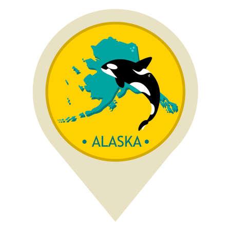 alaska: Map pointer with alaska state