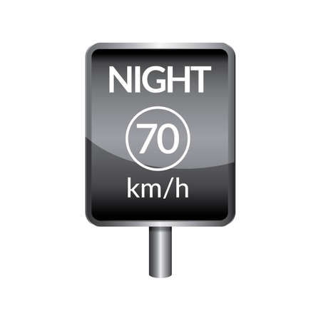 slow down: Night speed limit 70 signboard