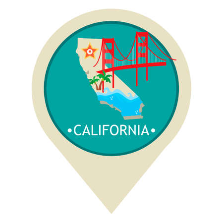pacific crest trail: Map pointer with california state