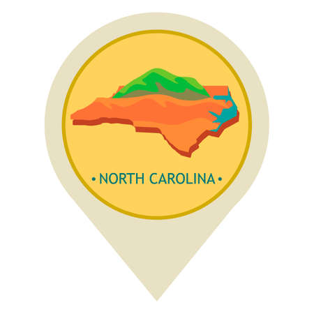 cherokee: Map pointer with north carolina state