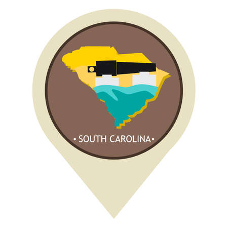 Map pointer with south carolina state Illustration