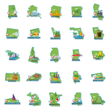 pacific crest trail: Set of USA maps icons Illustration