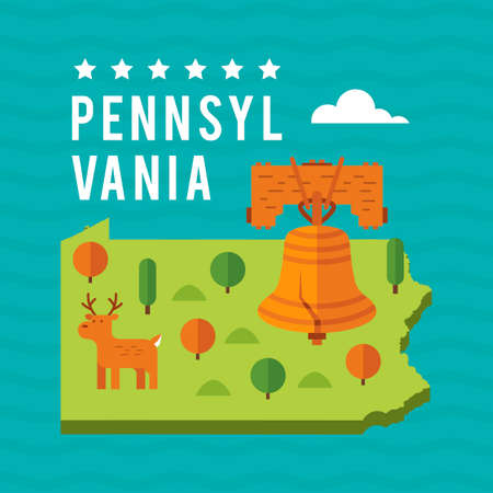 pennsylvania: Map of pennsylvania state Illustration