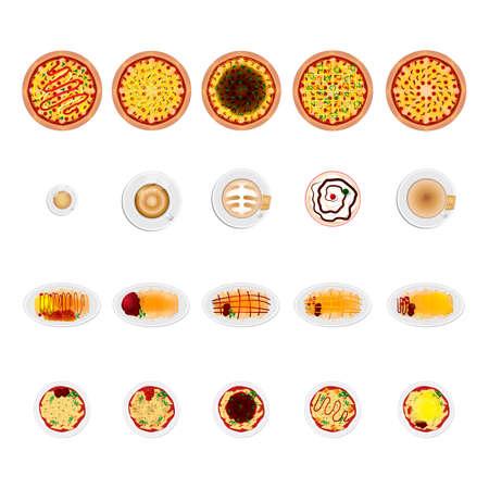 comida italiana: Conjunto de iconos de comida italiana Vectores
