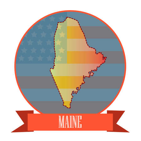 double exposure: Map of maine state