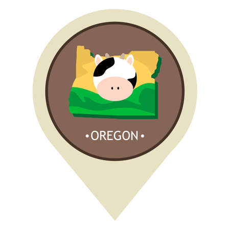 oregon: Map pointer with oregon state Illustration