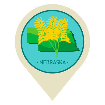 map pointer: Map pointer with nebraska state