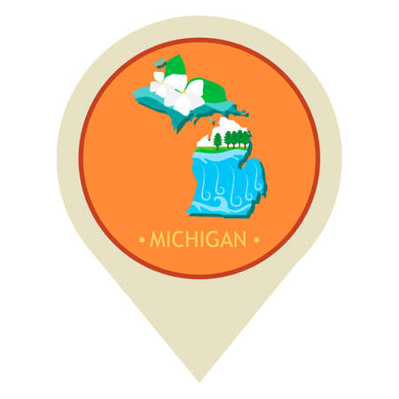 michigan: Map pointer with michigan state